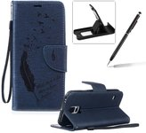 Strap Lanyard Case for Samsung Galaxy S5,Flip Leather Case for Samsung Galaxy S5,Herzzer BookStyle Elegant Synthetic [Feather Pattern] Folio Wallet Case Shell Holster Credit Card Slots Holder Stand Function Magnet Closure Anti-Drops Dustproof Protective Shell Phone Case Mobile Cover Protect Skin For Samsung Galaxy S5 + 1 x Black Cellphone Kickstand + 1 x Black Stylus Pen - Dark Blue