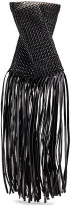 Bottega Veneta Fringe Crisscross Clutch in Black & Gold | FWRD