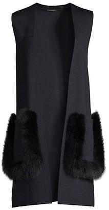 Kobi Halperin Amelia Fox Fur-Trim Vest
