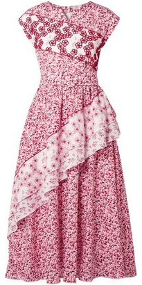 Gül Hürgel Belted Embellished Floral-print Cotton Dress