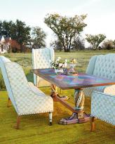 Mackenzie Childs MacKenzie-Childs Aurora Trestle Table & Parchment Check Seating