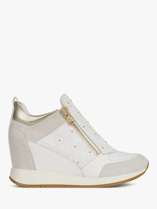 Geox Women's Nydame Wedge Heel Zip Up Trainers, White