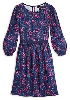 Aqua Girls' Floral Printed Balloon Sleeve Cotton Dress, Big Kid - 100% Exclusive