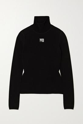 Alexander Wang Appliqued Stretch-knit Turtleneck Top - Black