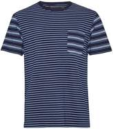 French Connection Men's Block Patchwork Indigo Striped T-Shirt
