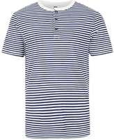Topman Navy Stripe Grandad Collar Muscle Fit T-Shirt