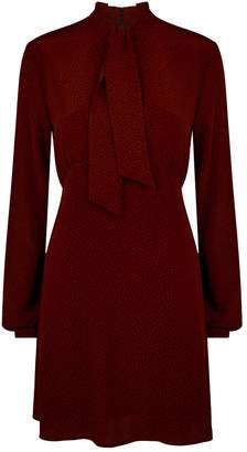 Saint Laurent Silk Abstract Print Mini Dress