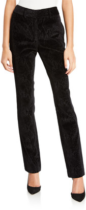 Frame Perfect Velvet Snake-Print Trousers