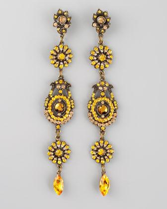 Aldazabal Crystal Drop Earrings, Yellow
