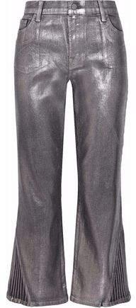 J Brand Selena Cropped Coated High-Rise Straight-Leg Jeans