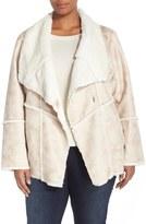Laundry by Shelli Segal Plus Size Women's Draped Collar Faux Shearling Coat