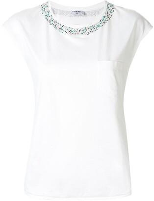 Chanel Pre Owned embellished neck T-shirt