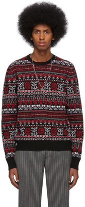 Alexander McQueen Black and Red Wool Jacquard Sweater