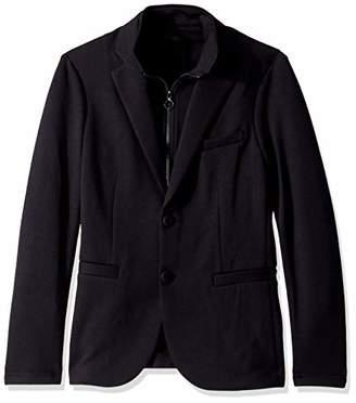 Armani Exchange A X Men's Solid Double Knit Blazer with Zip Up Scuba Vest