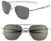 Randolph Engineering Men's 55Mm Polarized Aviator Sunglasses - Bright Chrome/ Grey