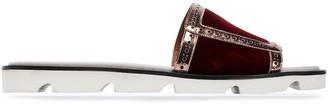 Malone Souliers Metallic Leather-trimmed Velvet Slides