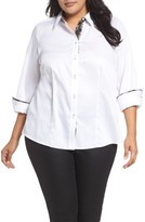 Foxcroft Plus Size Women's Brooke Contrast Trim Sateen Shirt
