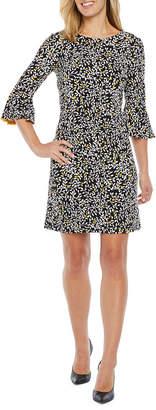 Liz Claiborne 3/4 Bell Sleeve Floral Puff Print Shift Dress