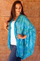 Versatile Turquoise Blue Batik Shawl Jacket Accessory, 'Denpasar Lady in Turquoise'