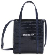 Balenciaga Extra Extra-Small Everyday Croc-Embossed Leather Tote