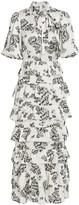 ML Monique Lhuillier Floral Puff-Sleeve Ruffle Long Dress
