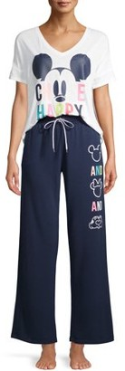Disney Disney's Mickey Women's and Women's Plus Short Sleeve Top and Pants Sleep Set