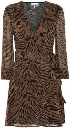 Ganni Tiger-printed georgette minidress