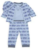 Offspring Baby's Four-Piece Printed Cotton Reversible Cardigan, Bodysuit, Pants & Hat Set