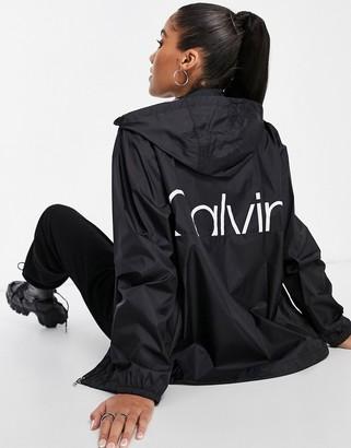 Calvin Klein back logo hooded windbreaker in black