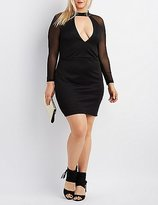 Charlotte Russe Plus Size Mesh-Sleeve Bodycon Dress