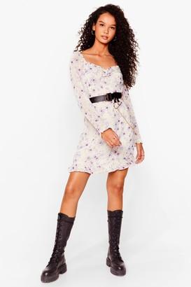 Nasty Gal Womens Lilac Floral Square Neck Dress - Purple - 4, Purple