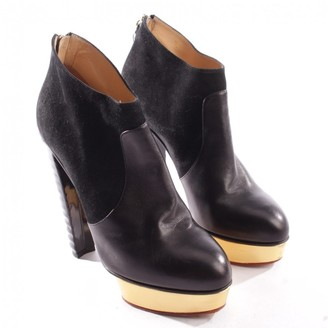 Charlotte Olympia Black Leather Ankle boots