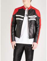 Versace Contrast Panels Leather Jacket