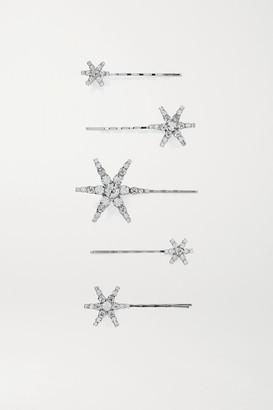 Jennifer Behr Vespera Set Of Five Crystal-embellished Silver-tone Hair Slides - one size