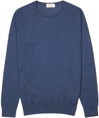 John Smedley Theon navy cotton-blend jumper