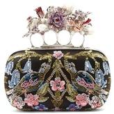 Alexander McQueen Flower-embellished satin knuckle clutch