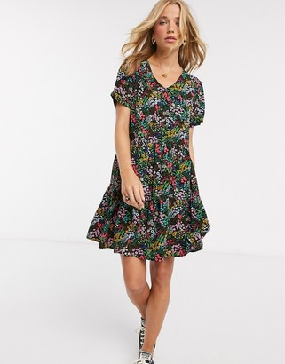 JDY mini smock dress in ditsy floral