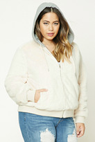 Forever 21 FOREVER 21+ Plus Size Fuzzy Bomber Jacket