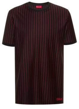 HUGO Relaxed-fit high-neck t-shirt in striped cotton