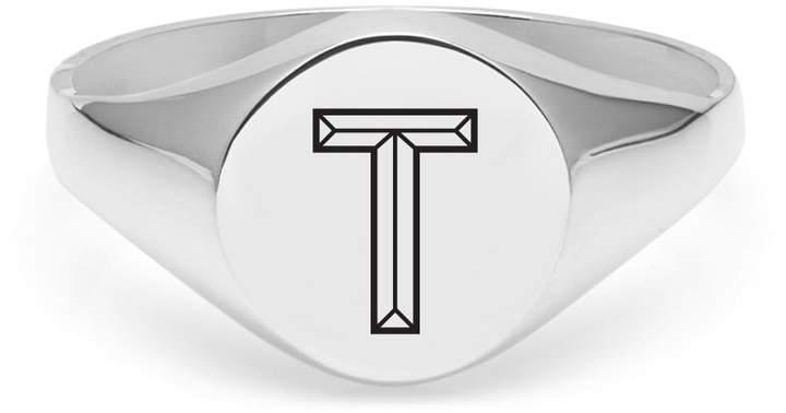 Myia Bonner Silver T Facett Initial Signet Ring