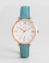Fossil Teal Leather Jacqueline Watch