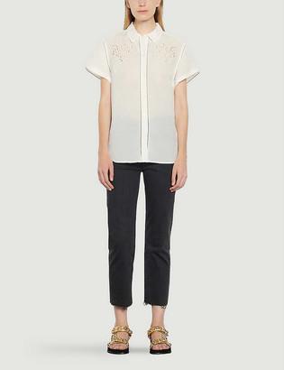 Sandro Netal embroidered-collar crepe shirt