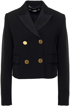 Stella McCartney Cropped Double-breasted Wool-blend Crepe Blazer