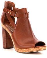 Lauren Ralph Lauren Fiana Leather Buckle Strap Peep Toe Block Heel Booties