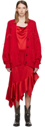 Marques Almeida Red Oversized Feather Cardigan