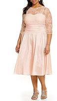Jessica Howard Plus Illusion Taffeta Party Dress