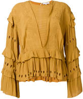 IRO embroidered ruffled blouse
