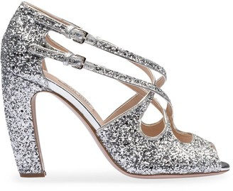 Miu Miu Glittered 100mm Sandals