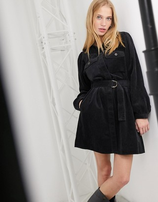 And other stories & corduroy belted mini dress in black
