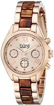 Burgi Women's BUR130RGBR Diamond Accented Rose Gold & Tortoise Resin Multifunction Bracelet Watch